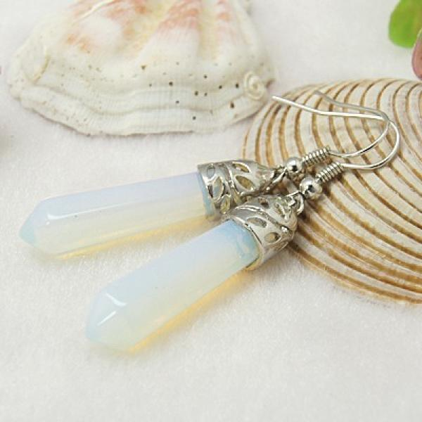 Opalite Gemstone Crystal Point Earrings