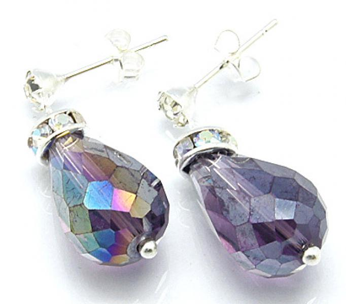 Slate Blue Sparkling Facetted Crystal Earrings