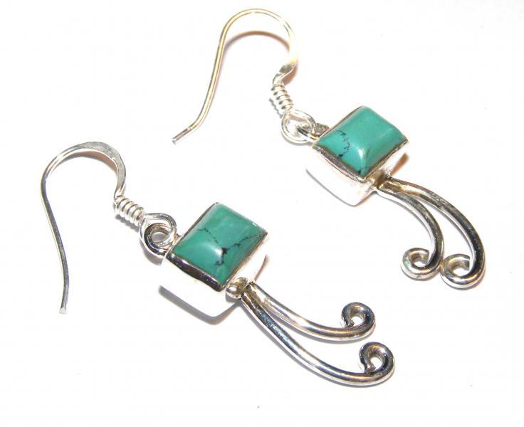 772035d26 Tibetan Turquoise Rectangle Cabachon Earrings [11108] - £9.95 : The ...
