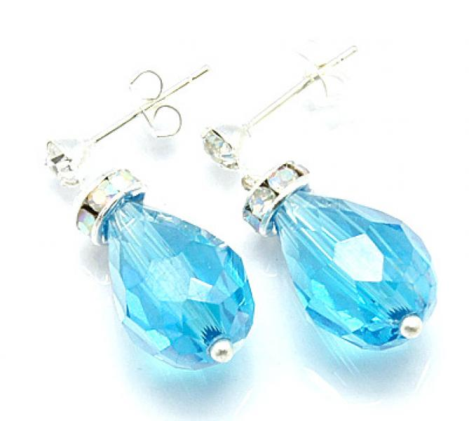 Turquoise Sparkling Facetted Crystal Earrings