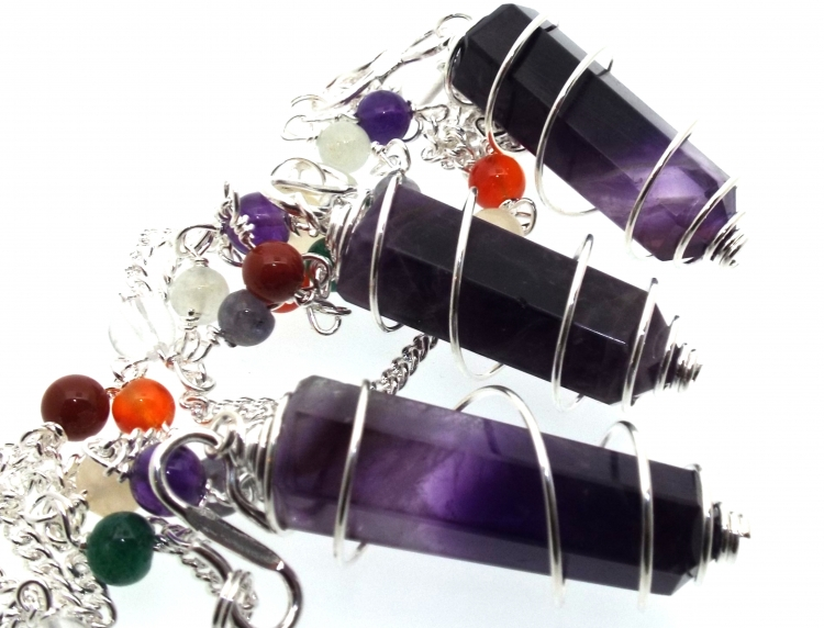 Amethyst Terminated Coil Pendulum with Chakra Gem Chain