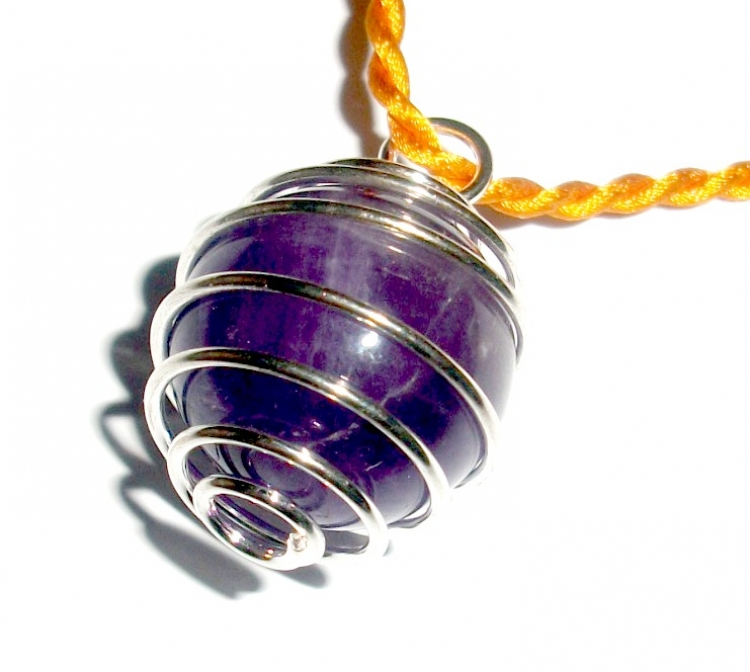 Amethyst Sphere Holder Spiral Pendant
