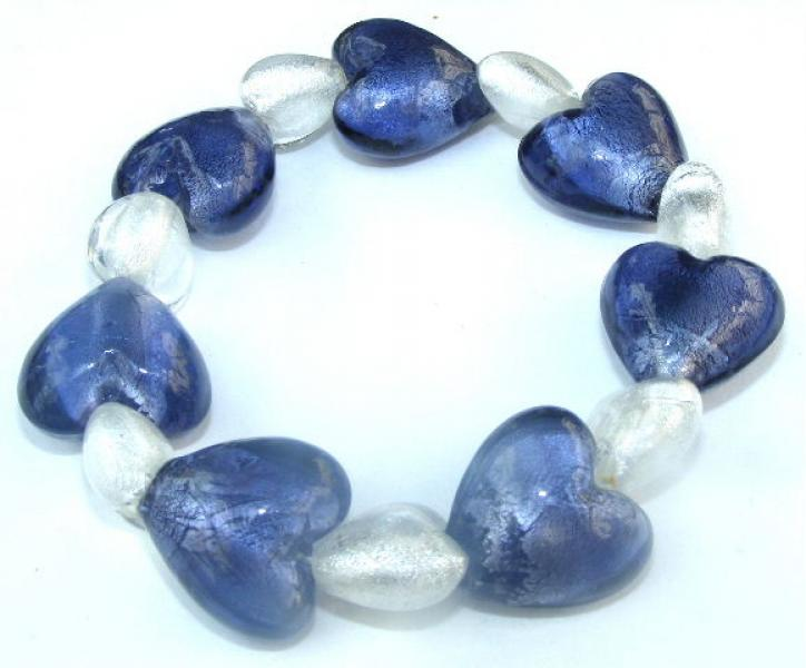 Heart Foil Glass Bracelet