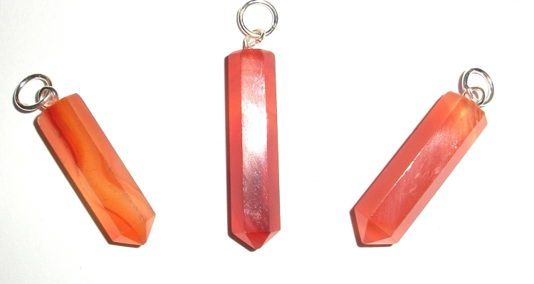 Carnelian Facetted Pencil Point Pendant