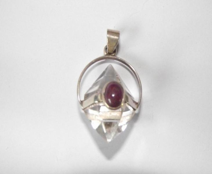 Double Terminated Quartz Pendant With Ruby