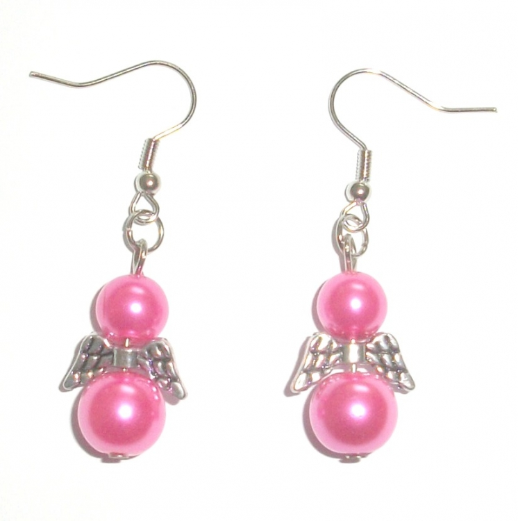 Hot Pink Glass Pearl Angel Earrings