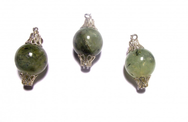Prehnite Gemstone Crystal 18mm Sphere Filigree Pendant