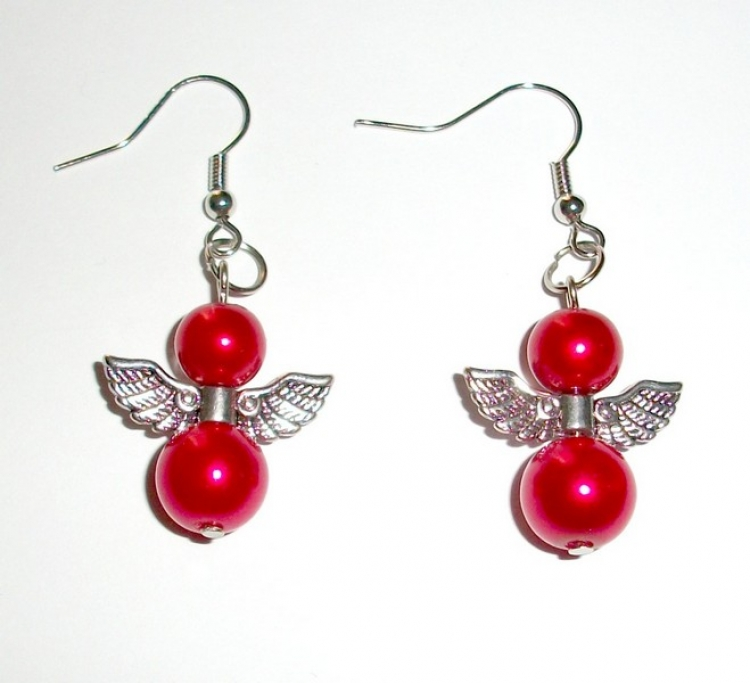 Red Glass Pearl Angel Earrings