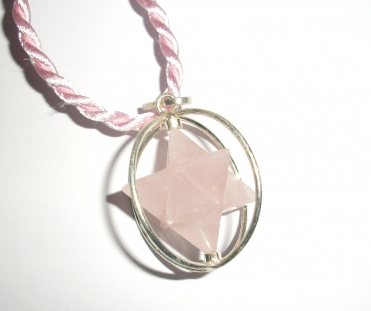 Rose quartz caged spinning merkaba pendant 20016 899 the gem rose quartz caged spinning merkaba pendant larger image aloadofball Image collections