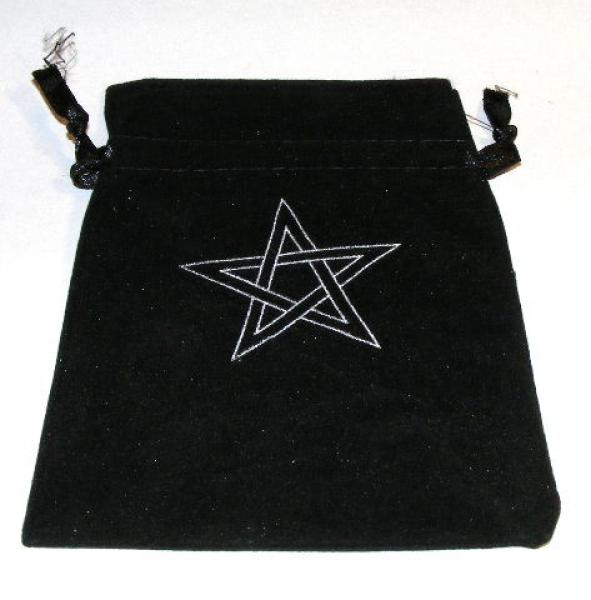 Velvet Pentagram Pouch / Crystals / Runes Bag - Large