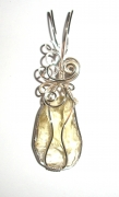Yellow Andara Crystal Wired / Wire Wrapped Pendant