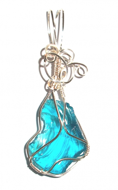Blue Andara Crystal Wired / Wire Wrapped Pendant