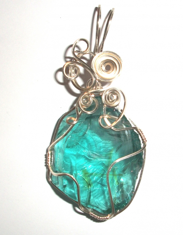 Green Andara Crystal Wired / Wire Wrapped Pendant