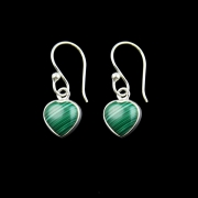 Malachite Heart Sterling Silver Earrings