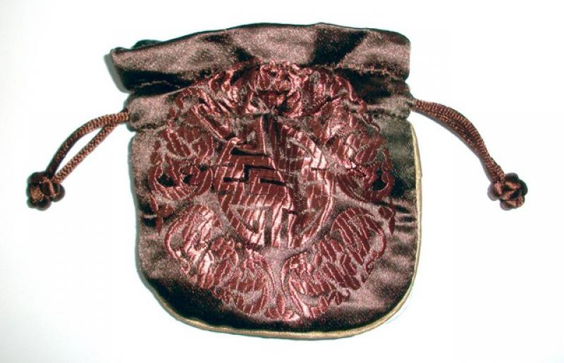 Embossed Maroon Chinese Silk Brocade Pouch