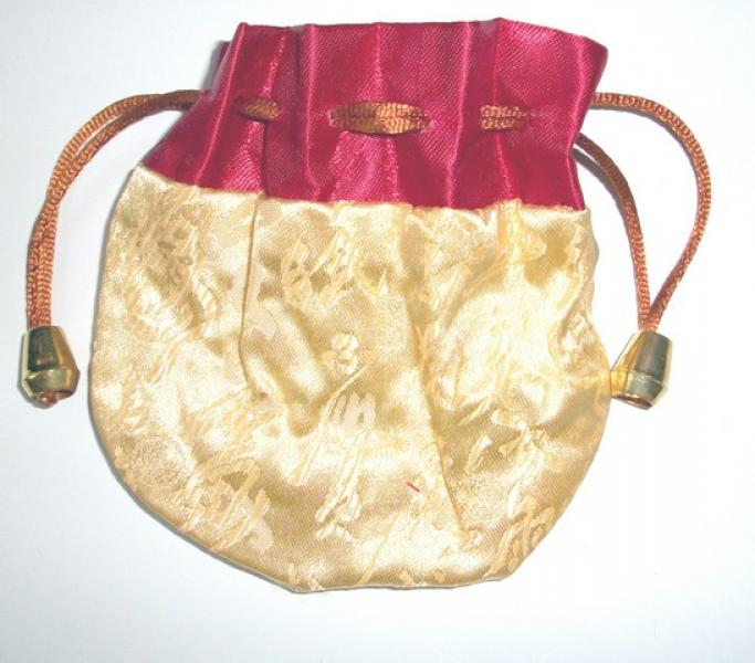 Maroon and Yellow Chinese Pouch