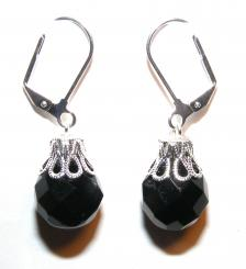 Midnight Black Facetted Crystal Glass Earrings