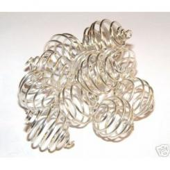 12mm Silver Spiral Cages For Gemstones + Crystals X 12