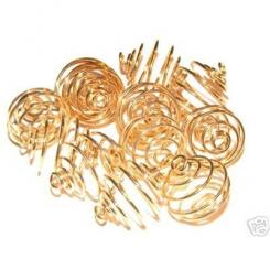 25.5mm Gold Spiral Cages For Gemstones + Crystals X 12