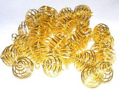 50 X 18mm To 36mm Gold Spiral Cages For Gems + Crystals