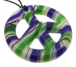 Blue and Green Glass Peace Sign Pendant