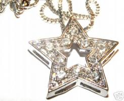 "Clear Crystal Star Pendant With 18"" Box Chain"