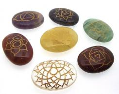 Carved Gemstone Chakra Palmstone Set