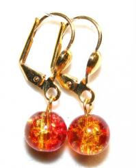 Fire Glass Leverback Earrings