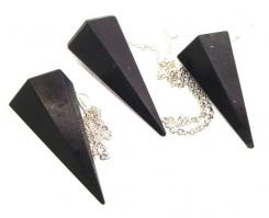 Indian Black Agate Gemstone Pendulum with Chart