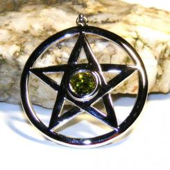 Large Pentagram Pendant With Peridot