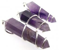 Large Coiled Amethyst Gemstone Double Terminated Pendant