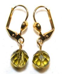 Olive Glass Crystal Earrings