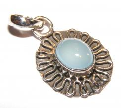 Ornate Frilled Chalcedonny Sterling Silver Gemstone Pendant