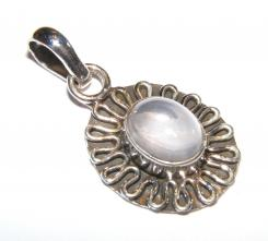 Ornate Frilled Quartz Sterling Silver Gemstone Pendant