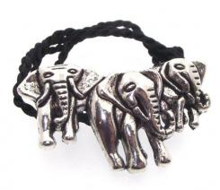Pewter Herd of Elephants Pendant with Silk Cord