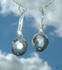 Silver Fire Polished Faceted Earrings