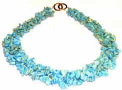 Turquoise Collar Chip Necklace Stunning Unique