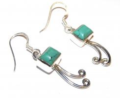 Tibetan Turquoise Rectangle Cabachon Earrings