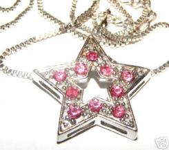 "Vivid Pink Crystal Star Pendant With 18"" Box Chain"