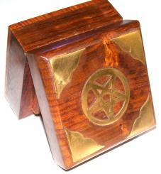 Wooden Pentagram Box With Brass Inlay