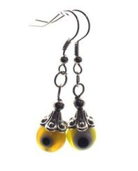 Yellow Evil Eye Lampwork Glass Earrings