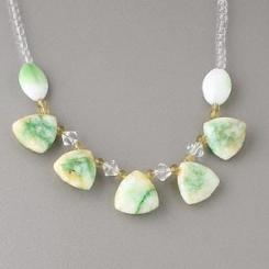 "Tibetan Green Quartz Necklace 16"" Long"