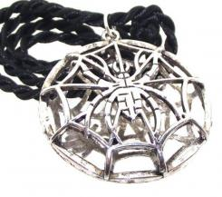 Large Spider Web Cage Gothic Creepy Halloween Pendant