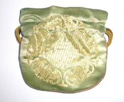 Gold Embossed Lime Green Chinese Silk Brocade Pouch
