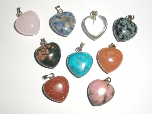 Gemstone Mini Puff Heart Pendant - Various Crystal Types Available