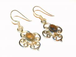 Labradorite Ornate Earrings - .925 Earrings