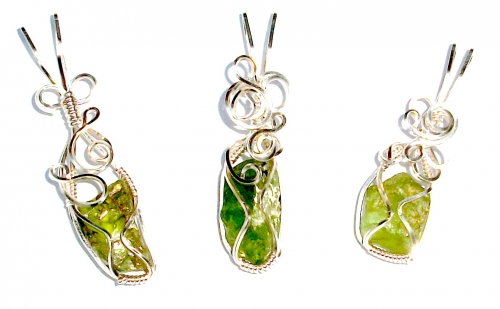 Peridot Wire Wrapped Sculpted Gemstone / Crystal Pendant