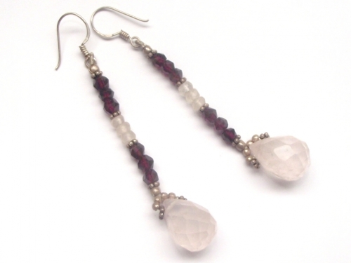 Rainbow Moonstone Pear and Garnet Facetted Sterling Silver Earrings