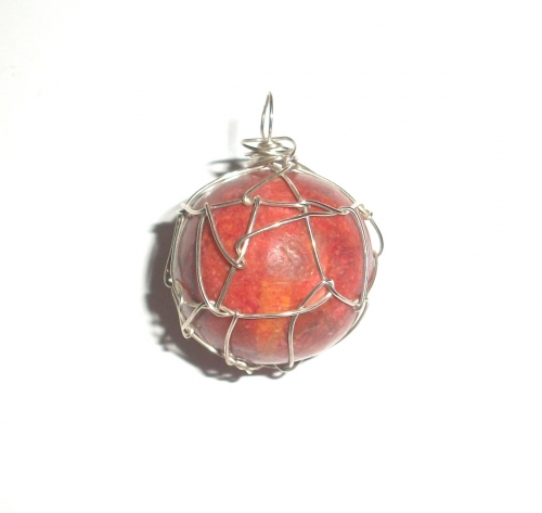Red Coral Wire Wrapped Pendant