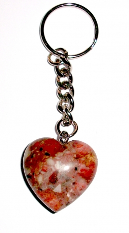 Rhodonite Heart Gemstone Crystal Keyring